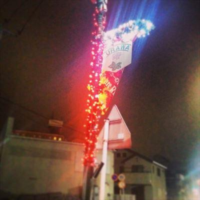 埼玉県 商店街の街灯ポールLED装飾