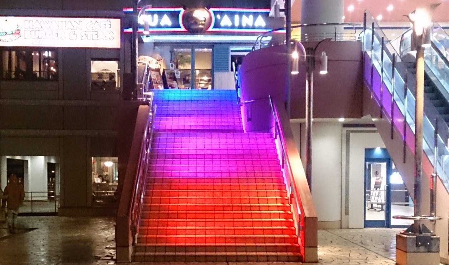 LED照明 階段演出 お台場1