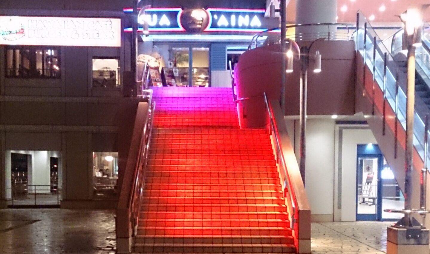 LED照明 階段演出 お台場2